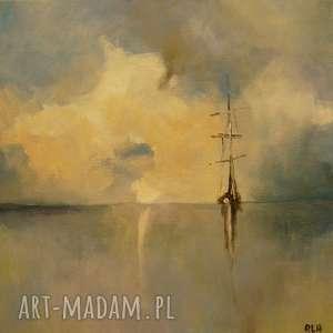 Obraz na płótnie - SAMOTNIK 25/25 cm, abstrakcja, łódź, niebieski, morze, szary