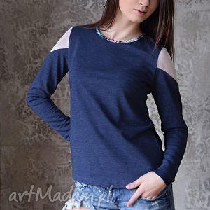 bluzy 100 bawełniana bluza z elementami szyfonu, bluza, dresówka, dzianina, szyfon