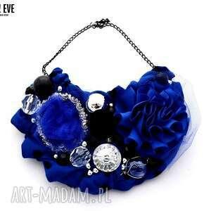 morskie oko naszyjnik handmade, naszyjnik, niebieski, granatowy, kobalt, szafir