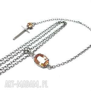 naszyjniki różaniec - naszyjnik, srebro, oksydowane, topaz, cyrkonia