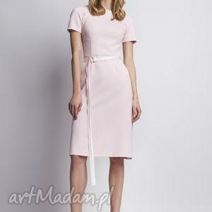 sukienka z krótkim rękawem suk128 róż, różowa, romantyczna, kobieca, subtelna, prosta