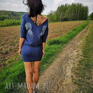 tunika skrzydła niebieski melanż blue melange angel wings, angelwings