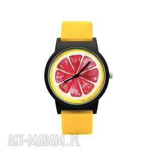 zegarek z silikonowym paskiem grejpfrut, cytrus, owoc, prezent, delikatny