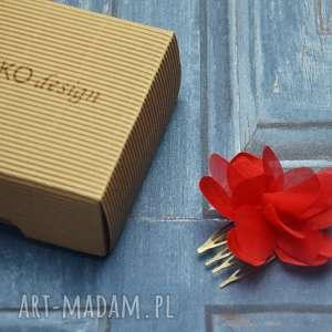 ozdoby do włosów czerwony kwiat, grzebyk, jedwab, czerwień