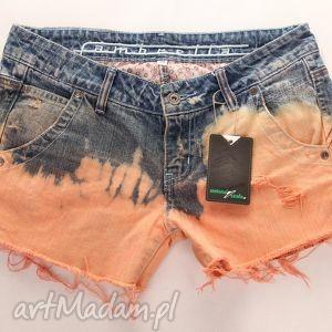 szorty dżinsowe ombre, spodnie, spodenki, szorty, ćwieki, denim