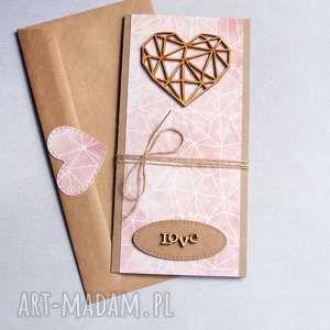 hand-made kartki kartka ślubna: geometric heart:: nude