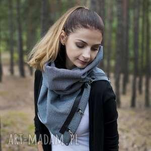 hand-made szaliki szalik, komin, szal, chusta, biało-czarny wzór, wełna i skóra