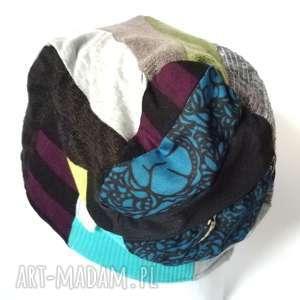 czapka damska ciepła kolorowa patchwork wełna zima - czapka, welna, etno, boho