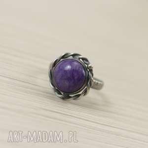 Czaroit i srebro - pierścionek no 2713 rozmiar 8, czaroit, srebro, z-czaroitem