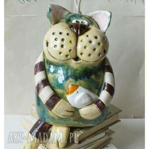 unikalny, dzwonek kot, ceramika, dzwonek, kot, ptaszek