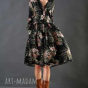 Czarna sukienka w kwiaty paloma spódnice kasia miciak design