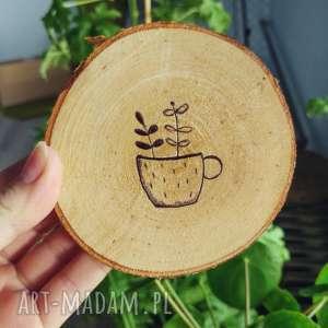 drewniana podkłądka pod kubek plants lover - ,plants,lover,podkładka,drewno,kubek,