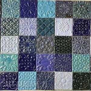 ręcznie robione kafle ceramiczne in blue, ozdobne, dekory ścienne