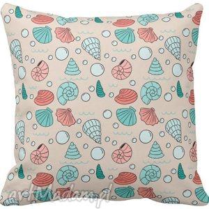 Poszewka na poduszkę dziecięca kolorwe muszelki marynistyczna 3041, poszewka