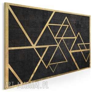 obraz na płótnie - trójkąty złoto 120x80 cm 34601, trójkąty, geometryczny