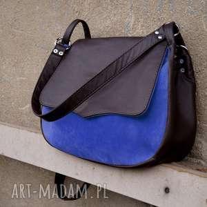 Gruba BARONOWA brąz/niebieski, niebieski, zamsz, torba, pojemna, kobieca, zamszowa