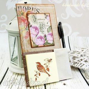 shiraja notes na lodówkę - różany ogród, róże, notes, magnes, lodówkę