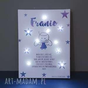 Prezent PAMIĄTKA CHRZTU świecący obraz LED modlitwa aniołek lampka gwiazdki prezent