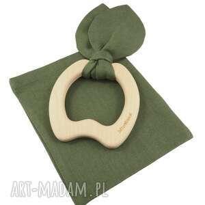 hand-made zabawki drewniany gryzak jabłko zawieszka len kolor zielony
