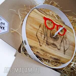 hand-made zegary nowość zegar ścienny pies, drewno metal, prezent