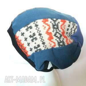 czapka damska patchworkowa na podszewce rozmiar uniwersalny, polecam - box