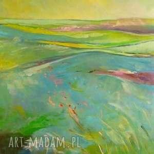 obraz na płótnie - letnia łąka 40/60 cm, abstrakcja, lato, płótno, łąka, zieleń