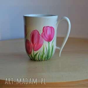 kubki kubek ceramiczny ręcznie malowany tulipany 300 ml, ceramika