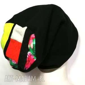 czapka damska czarna ciepła zimowa patchwork - czapka, zimowa, ciepła, etno, boho
