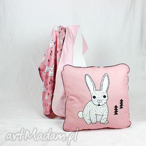poduszka królik róż 46x46 - poduszka, dekoracyjna, pościel, dziecko, minky