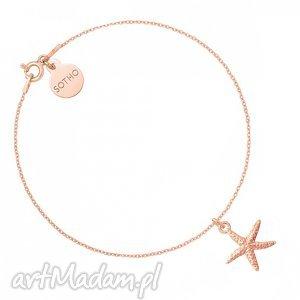 bransoletka z rozgwiazdą różowego złota, modna, bransoletka, zawieszka, srebro
