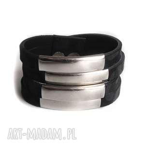 Bransoleta skórzana czarna panterka metal, zamsz