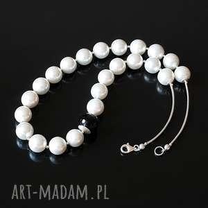 biało-czarny - naszyjnik - perły, seashell, onyks, srebro, naszyjnik