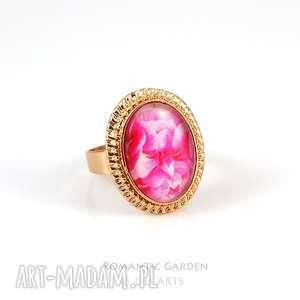 pierścionek - różowe geranium kolor złoty, pierścionki, kwiaty, delikatny