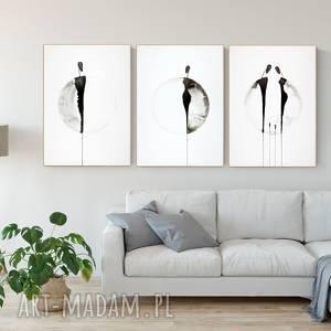 zestaw 3 grafik 50x70 cm wykonanych ręcznie, plakat, abstrakcja, elegancki
