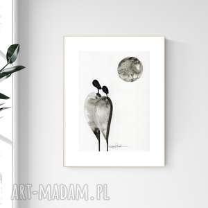 grafika a4 malowana ręcznie, minimalizm, abstrakcja czarno-biała, 2476583