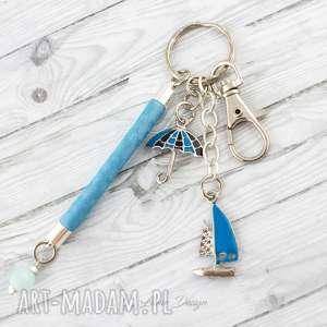 Brelok do kluczy lub torebki żaglówka, łódka, parasol, podręczny, wakacyjny