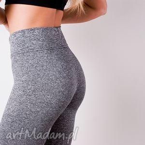 spodnie sportowe damskie szare legginsy z pasem wysoki stan, legginsy,