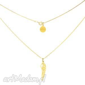 złoty modowy naszyjnik symbol skrzydło łańcuszek żmijka fashion