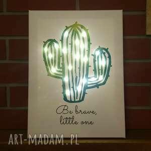 Prezent ŚWIECĄCY OBRAZ LED kaktus cytat motto skandynawski styl lampka nocna,