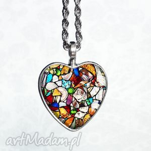 serce witraŻowe- naszyjnik mosaic - serduszko, serca, walentynki, prezent, srebrny