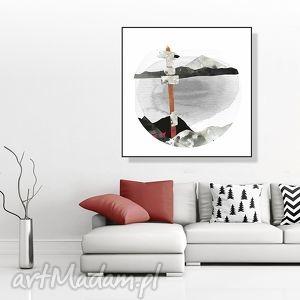 grafika górskie szlaki ilustracja 30x30 cm, grafika, góry, krajobraz, pejzaż, kwadrat