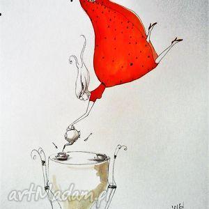 grafika akwarelą i piórkiem herbata, grafika, rysunek, dziewczyna, herbata