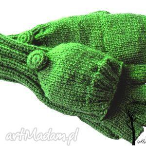 bezpalczatki z klapką #9, rękawiczki na zimę, zielone mitenki, jednopalczaste