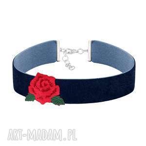 GRANATOWY CHOKER z różą - FOLK, hafty, róża, choker, naszywka, kwiat