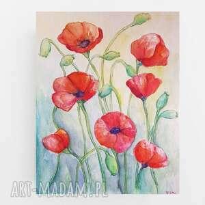 maki-akwarela formatu 24/32 cm, maki, łąka, akwarela, kwiaty