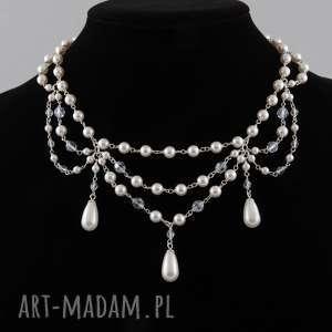 Naszyjnik z białych pereł Swarovski - ,ślubny,naszyjnik,perły,swarovski,srebro,