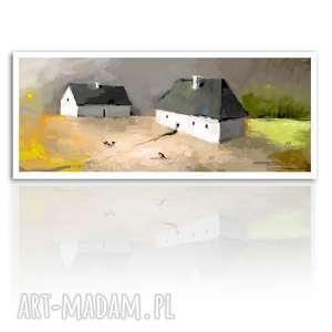 Obraz na płótnie 120x50 - Wróble 02-242 wysyłka w 24 h, dom, domki, pejzaż, wieś