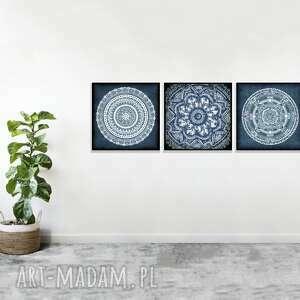 wyjątkowy prezent, zestaw 3 prac 30x30cm, mandala, mandale, etno, folk, obraz