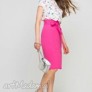 Elegancka bluzka z krótkim rękawem, BLU133 jaskółki ecru, lekka, wzór, letnia
