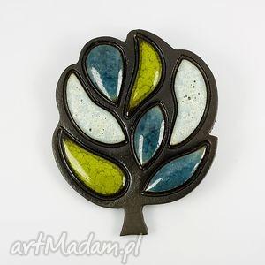 Drzewo, ceramika, broszki, drzewo, turkus, niebieski